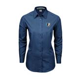 Ladies Deep Blue Tonal Pattern Long Sleeve Shirt-Bruin Head