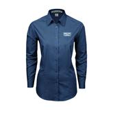 Ladies Deep Blue Tonal Pattern Long Sleeve Shirt-Arched Bruins Shield