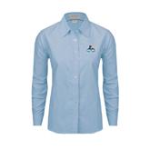 Ladies Light Blue Oxford Shirt-Official Logo