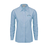 Ladies Light Blue Oxford Shirt-Arched Bruins Shield