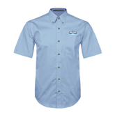 Light Blue Twill Button Down Short Sleeve-Arched Bruins Shield