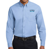 Light Blue Twill Button Down Long Sleeve-Arched Bruins Shield