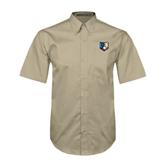 Khaki Twill Button Down Short Sleeve-Bruin Head