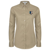 Ladies Khaki Twill Button Down Long Sleeve-Bruin Head