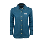 Ladies Denim Long Sleeve Shirt-Arched Bruins Shield