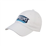 White Twill Unstructured Low Profile Hat-Arched Bruins Shield