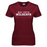 Ladies Maroon T Shirt-Bay Path Wildcats
