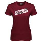 Ladies Maroon T Shirt-Bay Path Wildcats Slashes