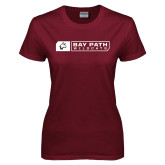 Ladies Maroon T Shirt-Bay Path Wildcats Box