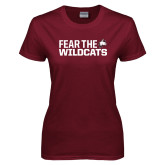 Ladies Maroon T Shirt-Fear the Wildcats