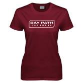 Ladies Maroon T Shirt-Lacrosse