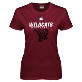 Ladies Maroon T Shirt-Basketball Net