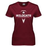 Ladies Maroon T Shirt-Geometric Lacrosse Stick