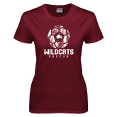 Ladies Maroon T Shirt-Distressed Soccer Ball