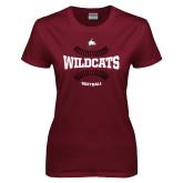 Ladies Maroon T Shirt-Softball Seams