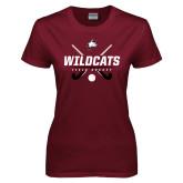 Ladies Maroon T Shirt-Field Hockey Sticks