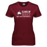 Ladies Maroon T Shirt-Class of…, Personalized year