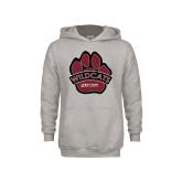 Youth Grey Fleece Hood-Wildcat Paw