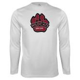 Performance White Longsleeve Shirt-Wildcat Paw