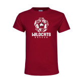 Youth Maroon T Shirt-Distressed Soccer Ball