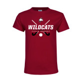 Youth Maroon T Shirt-Field Hockey Sticks