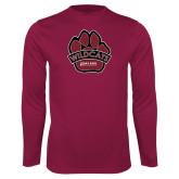 Performance Maroon Longsleeve Shirt-Wildcat Paw