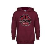 Youth Maroon Fleece Hoodie-Wildcat Paw