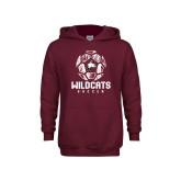Youth Maroon Fleece Hoodie-Distressed Soccer Ball
