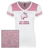 Ladies White/Heathered Pink Juniors Varsity V Neck Tee-Primary Mark  Foil