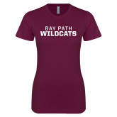 Next Level Ladies SoftStyle Junior Fitted Maroon Tee-Bay Path Wildcats