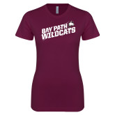 Next Level Ladies SoftStyle Junior Fitted Maroon Tee-Bay Path Wildcats Slashes