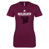 Next Level Ladies SoftStyle Junior Fitted Maroon Tee-Basketball Net