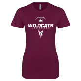 Next Level Ladies SoftStyle Junior Fitted Maroon Tee-Geometric Lacrosse Stick