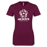 Next Level Ladies SoftStyle Junior Fitted Maroon Tee-Distressed Soccer Ball