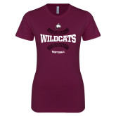 Next Level Ladies SoftStyle Junior Fitted Maroon Tee-Softball Seams