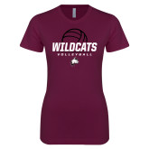 Next Level Ladies SoftStyle Junior Fitted Maroon Tee-Volleyball Ball
