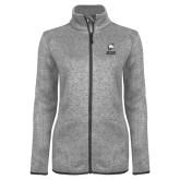 Grey Heather Ladies Fleece Jacket-Primary Mark