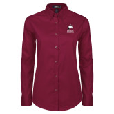 Ladies Maroon Twill Button Down Long Sleeve-Primary Mark