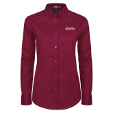 Ladies Maroon Twill Button Down Long Sleeve-Bay Path Wildcats