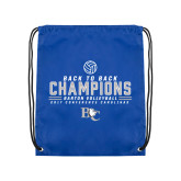 Royal Drawstring Backpack-2017 Womens Volleyball Champions back to back