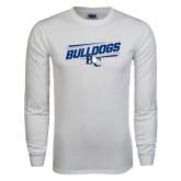 White Long Sleeve T Shirt-Stencil Bulldogs