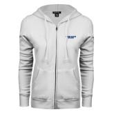 ENZA Ladies White Fleece Full Zip Hoodie-Wordmark