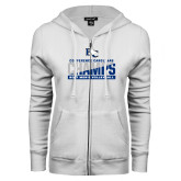ENZA Ladies White Fleece Full Zip Hoodie-Conference Carolinas Champs - Mens Volleyball Two Tone