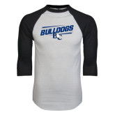 White/Black Raglan Baseball T-Shirt-Stencil Bulldogs