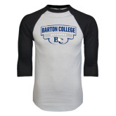 White/Black Raglan Baseball T-Shirt-Barton College Bulldogs