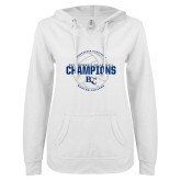 ENZA Ladies White V Notch Raw Edge Fleece Hoodie-2017 Womens Volleyball Champions