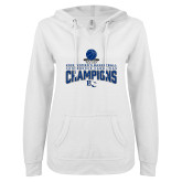 ENZA Ladies White V Notch Raw Edge Fleece Hoodie-2018 Womens Basketball Champions