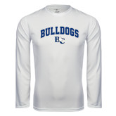 Performance White Longsleeve Shirt-Arched Bulldogs