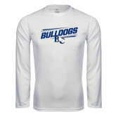 Performance White Longsleeve Shirt-Stencil Bulldogs