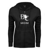 ENZA Ladies Black Fleece Full Zip Hoodie-Mom